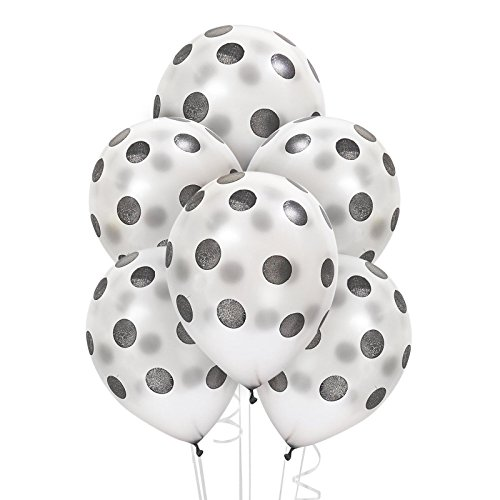 Silver with Black Dots Latex Balloons (6) - Party Supplies