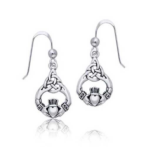 Earrings Celtic Claddagh (Celtic Knotwork Claddagh Sterling Silver Dangle Earrings)