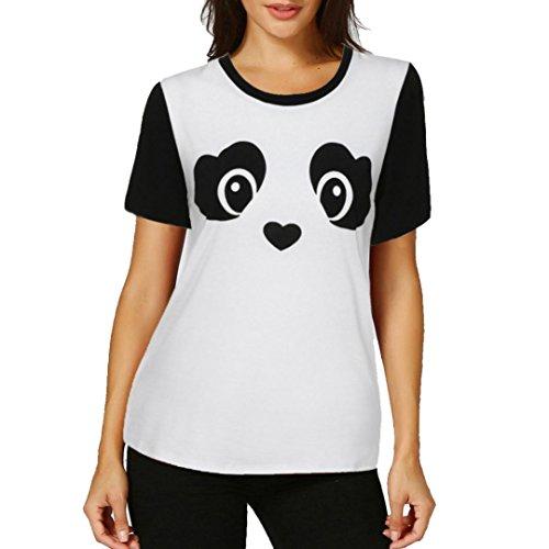 BCDshop Women Tshirt Short Sleeve Teen Girl Cute Panda Print Tee Fashion Tops Blouse (White, Asian XL=US Size 14-16)