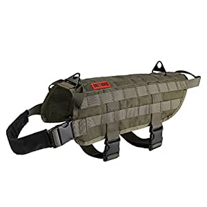 OneTigris Tactical Dog Training Vest Harness with Mesh Padding and Two Handles (Ranger Green, L/49cm)