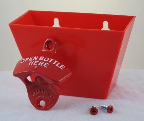 Red OPEN BOTTLE HERE Combo Wall Mount Bottle Opener and Plastic Cap Catcher Set
