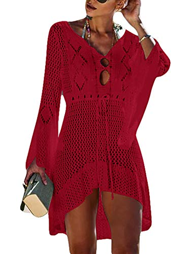 Bsubseach Womens Crochet Sexy Swimsuit Cover Up Long Trumpet Sleeve Bikini Bathing Suit Beach Dress Red