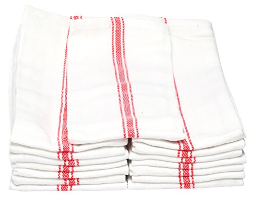 Melange 180 PACK Classic Kitchen Towels, 100% Natural Cotton, 14 x 25, Commercial Restaurant Grade, Herringbone Weave Dish Cloth, Absorbent and Lint-Free, Machine Washable, White with Red Stripe by Dish Basics