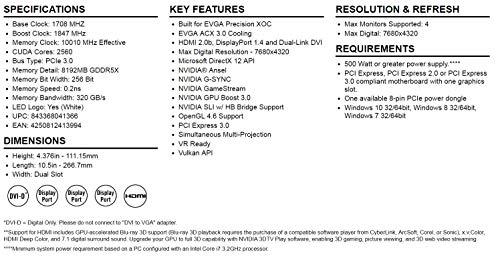 EVGA GeForce GTX 1080 SC GAMING ACX 3 0, 8GB GDDR5X, LED, DX12 OSD Support  (PXOC) Graphics Card 08G-P4-6183-KR (Renewed)