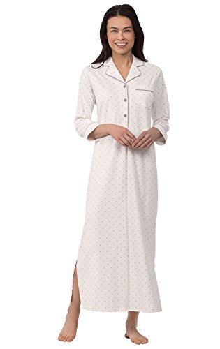 PajamaGram Women's Cotton Nightgown Soft - Night Gown Womens, Cream, M, 10-12