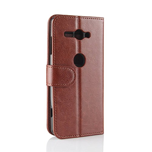 Sony XZ2 Cover Protective Genuine Xperia Phone Slots Brown Compact Case Wallet for Sony with Retro Xperia Compact Case Black HualuBro ID Flip XZ2 Card Credit Leather Handmade BPdxqOOW