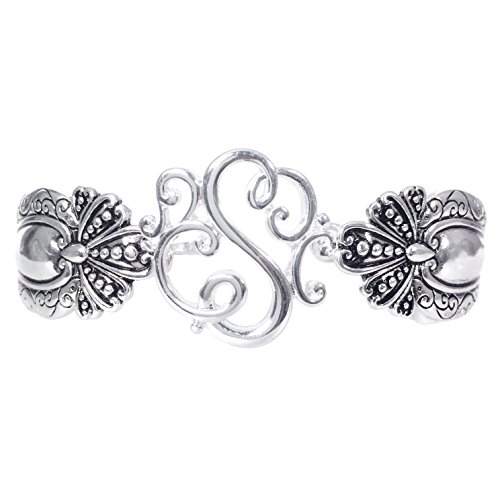 Gypsy Jewels Spoon Handle Style Monogram Initial Silver Tone Magnetic Clasp Bracelet (Letter S)