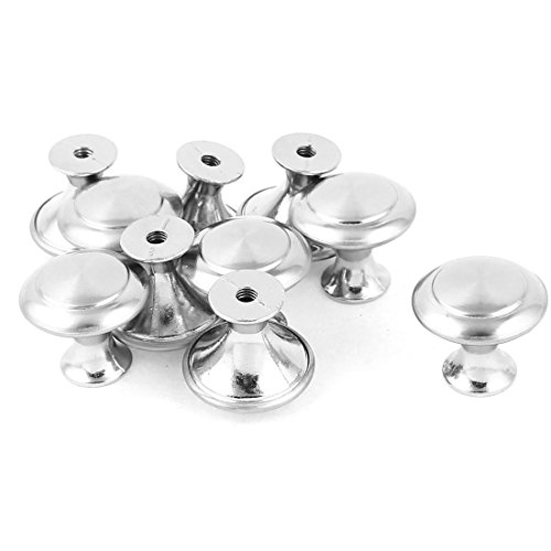 uxcell 10 Pcs Silver Tone Metal Round Shape Cupboard Cabinet Drawer Pull Knob 23mmx21mm