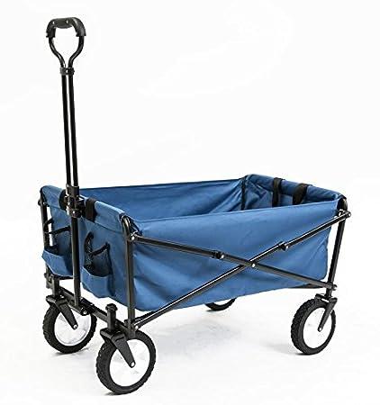 Seina Collapsible Folding Utility Wagon Garden Cart Shopping Beach  Outdoors, Blue