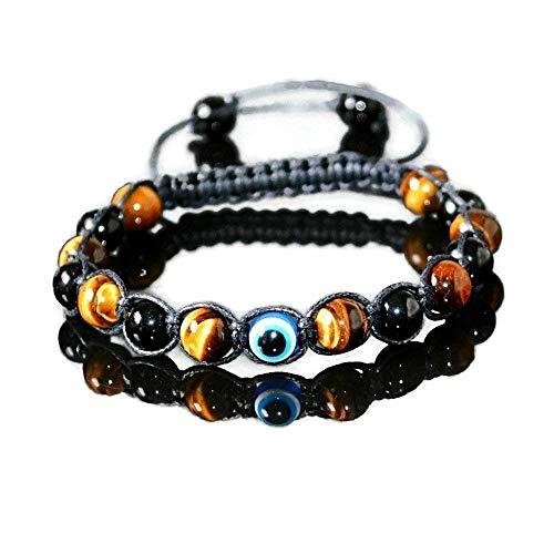 (Evil Eye Bracelet for Men - Protection Amulet Beaded Shamballa Bracelet - Tigers Eye & Black Onyx)