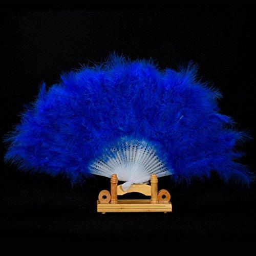 [Coerni Elegant Fancy Costume Party Dance Fan for Wedding ,Dancing, Large Feather Folding Hand Fan Decor on SALE (Blue)] (Bin Bag Halloween Costumes)