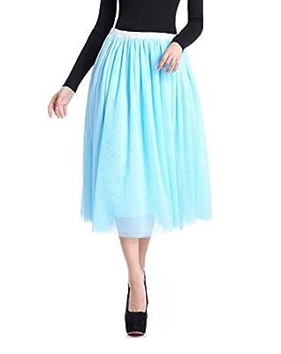 V28 Women Girls Junior Pleated Tulle Tutu Ballet Midi Elastic Skater Dance Skirt