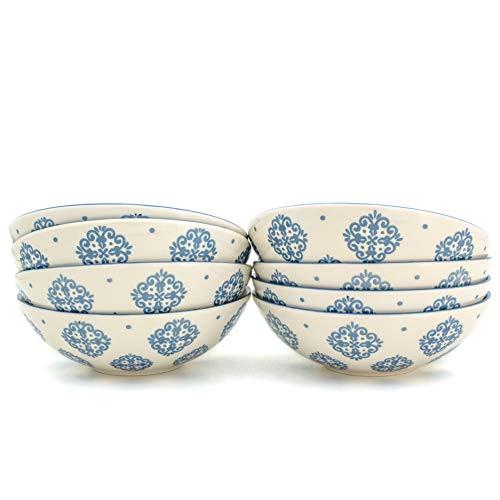 Euro Ceramica ALF-1234B Alfama Dining/Pasta Bowls, Set of 8, Blue by Euro Ceramica Inc.