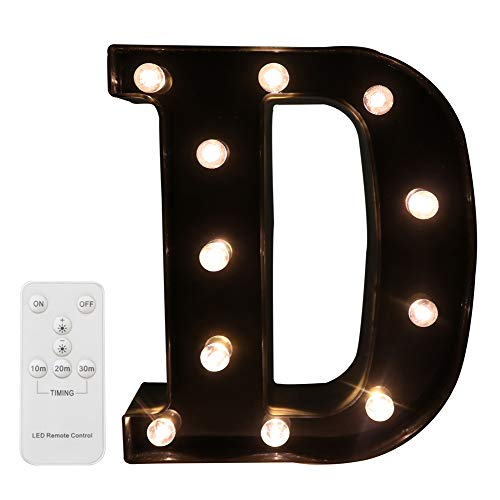 Pooqla LED Marquee Letters with Lights Alphabet Light Up Black Wall Letter Sign with Wireless Timer Remote Control Dimmable for Wedding Home Party Bar Decoration - RC - ()