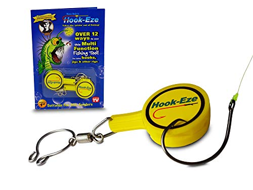 HOOK-EZE Fishing Hook, Swivel, Line, Safety Tying Device, Line Cutter & More (Yellow)