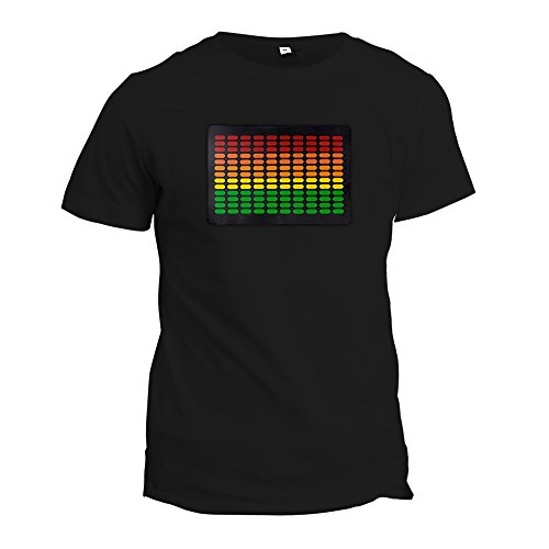 LED Equalizer Sound Activated Luminescent T-Shirt with Detachable Panel (Large, (Shirts With Led Lights)