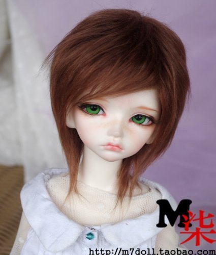 Bjd Wig (7-8inch(18-19cm): 1/4 BJD MSD, Fur Wig Dollfie, Brown Medium Hairstyle)