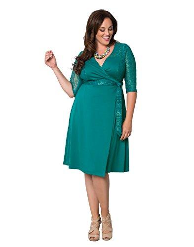 Kiyonna Women's Plus Size Ravishing Lace Wrap Dress 0X Glistening Jade