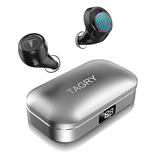 Bluetooth Headphones,TAGRY 5.0 True Wireless Earbuds Deep Bass HiFi Stereo Sound 30H Playtime Bluetooth Earphones in Ear Binaural Call Headset with Charging Case and Built in Mic for Sports Running (Best Cheap Earbuds For Running)