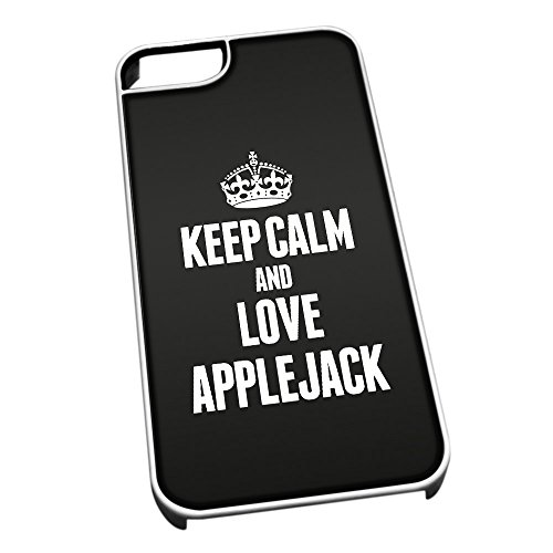 Bianco cover per iPhone 5/5S 0775 nero Keep Calm and Love Applejack