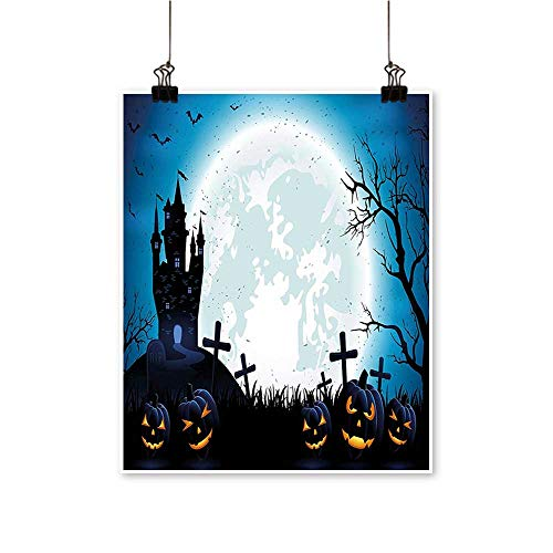 Modern Canvas Painting Wall Art Spooky Concept with Halloween Icons Old Celtic Harvest Festival Figures in Dark Image for Home Office,32