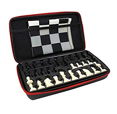 """Silicone Travel Chess Set for Adults Kids Beginners with Storage Case, Tournament Game Pieces, 13"""" Portable Roll-Up Board Mat, EVA Carrying Box Game Lightweight Package"""