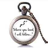 Handmade Gilmore Girls'Where You Lead.'Pocket Watch Necklace,Birthday, Lovers, Friends, Gift, Jewelry