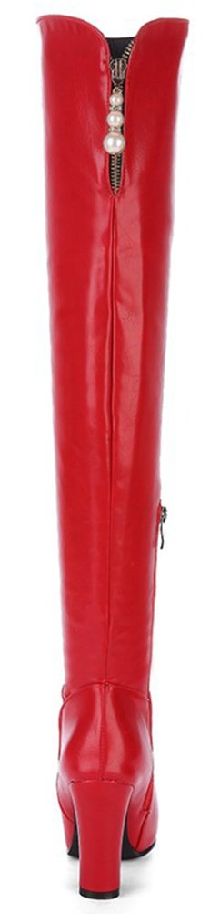 Mofri Women's Sexy Pendant Round Toe Block Chunky High Heel Side Zipper Thigh High Long Riding Boots B0781STWYM 9 B(M) US|Red