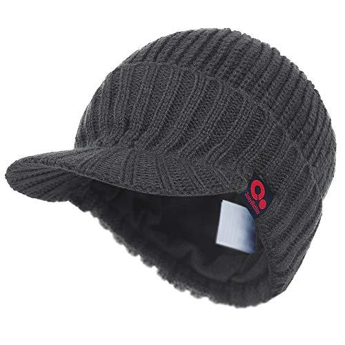 (Janey&Rubbins Visor Beanie Winter Hats for Men Women Billed Beanie Fleece Lined Knit Ski Skull Cap (A-Gray))