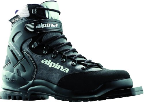 Alpina BC 1575 Back-Country Nordic Cross-Country Ski Boots with 3-Pin Soles, Black/Silver, 48
