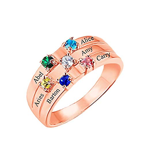 evening mist Personalized Mothers Rings 6 Simulated Birthstones Rings for Mother Name Rings Mother Grandmother Gifts for Mother's Day/Christmas/Birthday ()