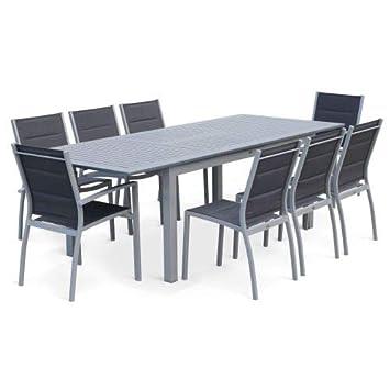 Salon de Jardin Table Extensible - Chicago Gris - Table en Aluminium ...