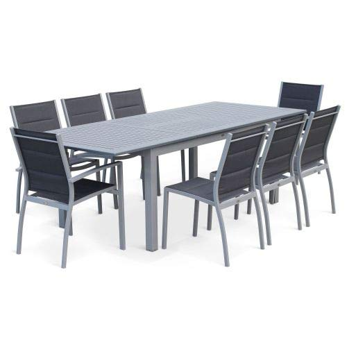 Salon de Jardin Table Extensible - Chicago Gris - Table en Aluminium ...