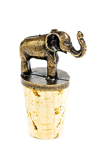 Elephant Antique Brass and Cork Bottle Stopper