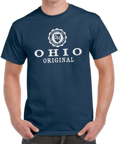 Vintage State Seal Full Chest Embroidered Ohio Tee Shirt Navy XXLarge - Navy Seal Embroidered Sweatshirt