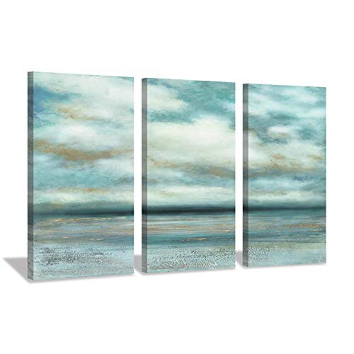 Abstract Ocean Wall Art Picture: Cloud Artwork Seascape Painting Print on Wrapped Canvas for Living Room (26'' x 16'' x 3 Panels)