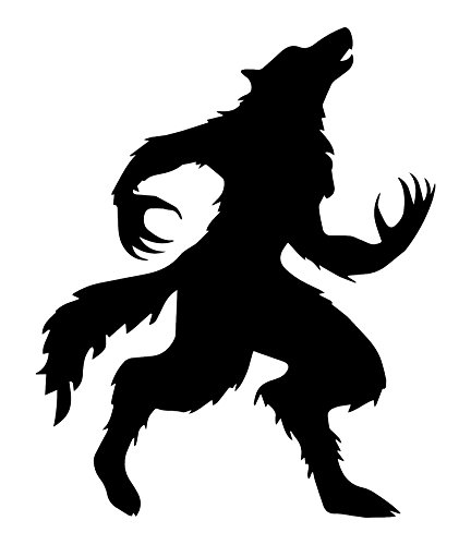 [Best Werewolf Decal, For Your Haunted House Collection or Halloween Gifts, Includes FREE E-book of 10 Halloween Songs, Made In The USA, Easy To Apply And Removable BLACK] (Magnificent Movie Costume)