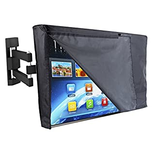 "Outdoor TV Cover 55"" - NOW WITH FRONT FLAP - The BEST Quality Weatherproof and Dust-proof Material with FREE Microfiber Cloth. Protect Your TV Now!"