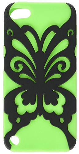 Rubberized Faceplate Phone - Asmyna Rubberized Black/Electric Green Butterfly Kiss Hybrid Protector Cover for iPod touch 5