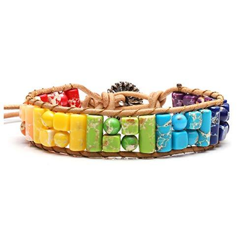 Jovivi Handmade Bohemian Boho Woven Leather Imperial Jasper Wrap 7 Chakra Bead Yoga Bracelet w//Sunflower Button Adjustable for Women Girls Friendship AJ1010107576