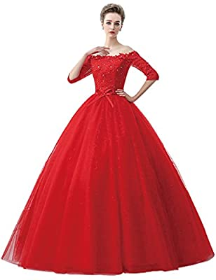 Vimans® Long Red Off Shoulder Bridal Wedding Ball Gowns with Lace and Beads