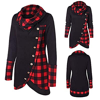 Blouses for Womens, FORUU Blouse Women Long Sleeve Plaid Turtleneck Tartan Tunic Sweatshirt Pullover Tops
