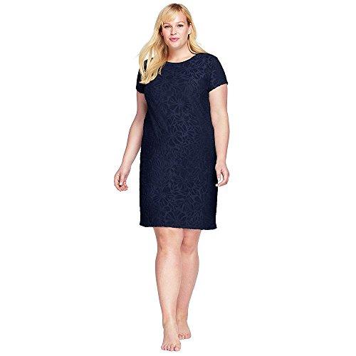 Lands' End Women's Plus Size Jacquard Terry T-Shirt Dress Cover-up, 2X, Deep Sea