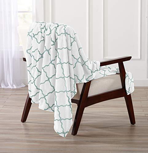 Velvet Jade - Home Fashion Designs Velvet Plush Soft Throw Blanket with Lattice Scroll Design (Jade Green)