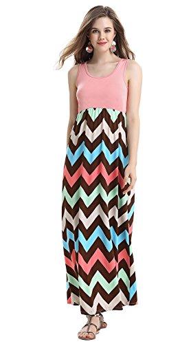 Demetory Women's Boho Sleeveless Chevron Zig Zag Casual Maxi Dress (Large, 1062_Pink)]()
