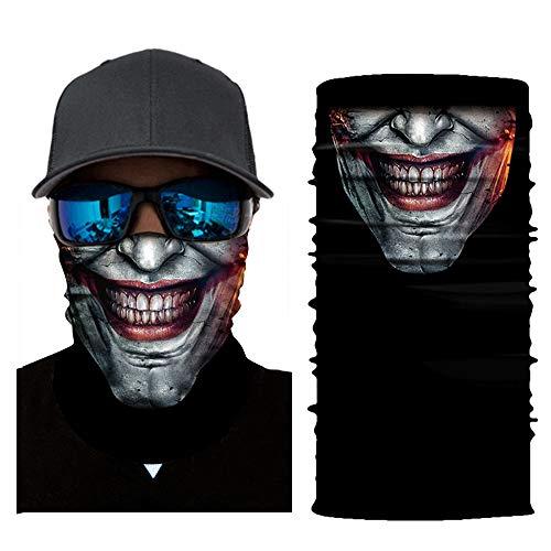 3D Face Sun Mask, Halloween Face Mask, Magic Scarf, Neck Gaiter, Bandana, Balaclava, Headband for Cycling, Motorcycling, Running, Skateboarding, Moisture Wicking UV Protection for Men & Women (F)]()
