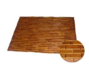Bathmat Tapete de sauna Madera Alfombra de baño bambú Alfombrilla de madera Badvorleger Teca 60 x 90 cm marrón oscuro Tipo G