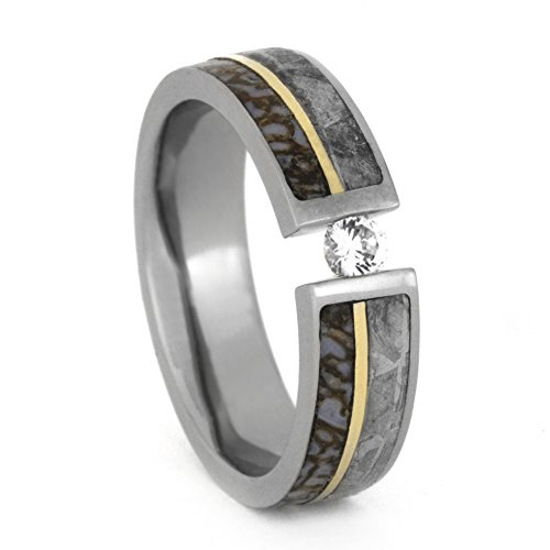 (Tension Set Diamond, Gibeon Meteorite, Dinosaur Bone, 14k Yellow Gold 8mm Comfort-Fit Titanium Band, Size 15.5)