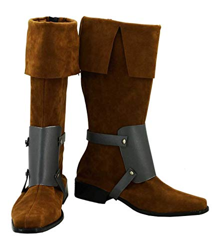Allten Mens Flynn Rider Brown Flat Boots Shoes Cosplay Costume (7.5 M US Male) -