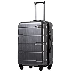 "Travel Junkie 41M5vbx0cjL._SS247_ Coolife Luggage Expandable(only 28"") Suitcase PC+ABS Spinner Built-In TSA lock 20in 24in 28in Carry on"